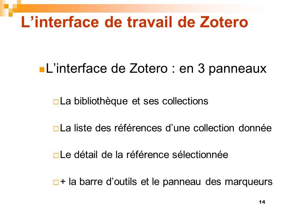 14 Linterface de travail de Zotero Linterface de Zotero : en 3 panneaux La bibliothèque et ses collections La liste des références dune collection don