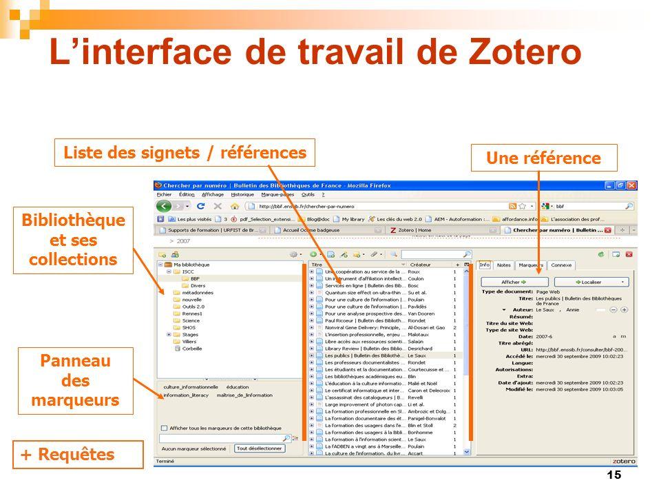 15 Linterface de travail de Zotero Bibliothèque et ses collections Liste des signets / références Une référence Panneau des marqueurs + Requêtes