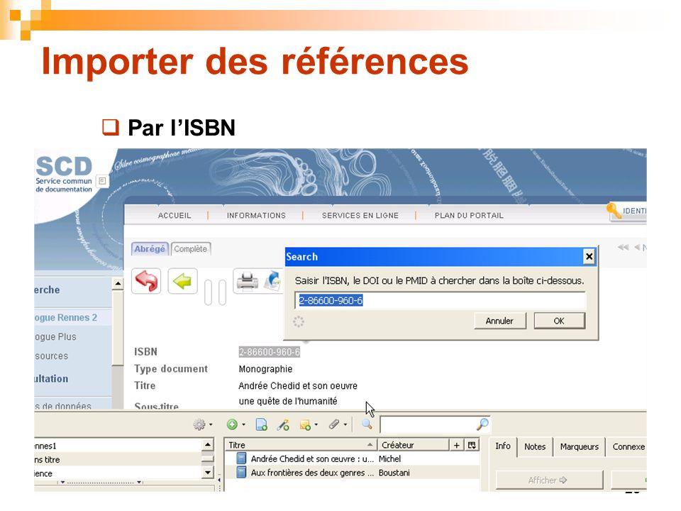 26 Importer des références Par lISBN