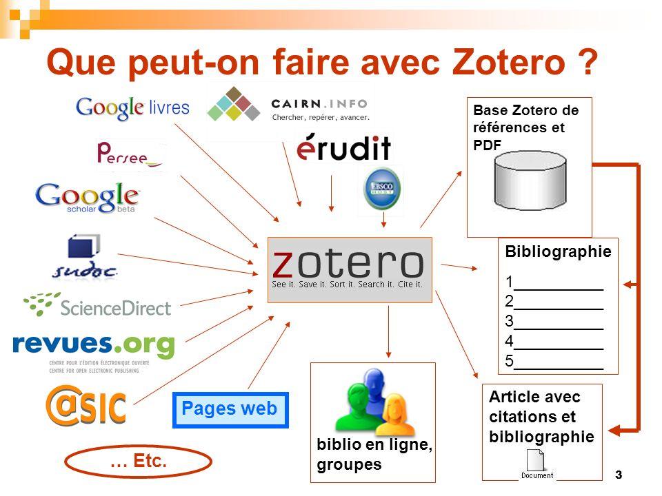 3 Que peut-on faire avec Zotero ? … Etc. Bibliographie 1__________ 2__________ 3__________ 4__________ 5__________ Article avec citations et bibliogra