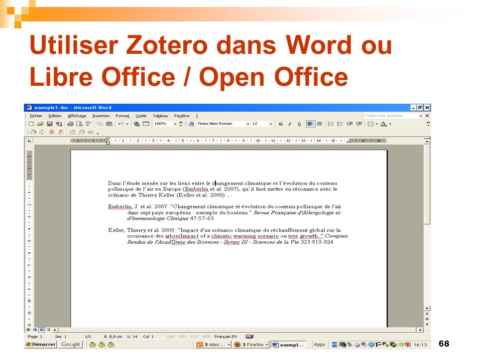 68 Utiliser Zotero dans Word ou Libre Office / Open Office