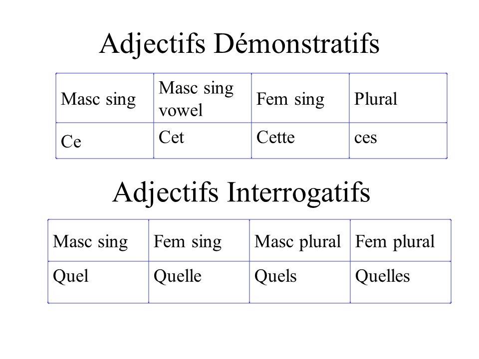 Adjectifs Démonstratifs Masc sing Masc sing vowel Fem singPlural Ce CetCetteces Masc singFem singMasc pluralFem plural QuelQuelleQuelsQuelles Adjectifs Interrogatifs