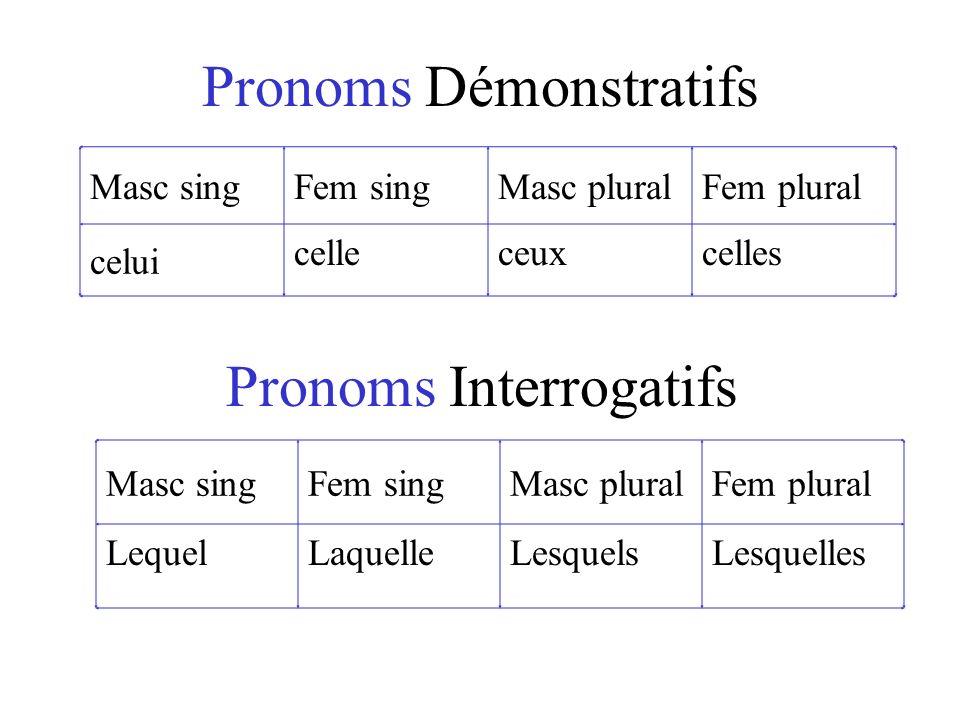Pronoms Démonstratifs Masc singFem singMasc pluralFem plural celui celleceuxcelles Masc singFem singMasc pluralFem plural LequelLaquelleLesquelsLesquelles Pronoms Interrogatifs