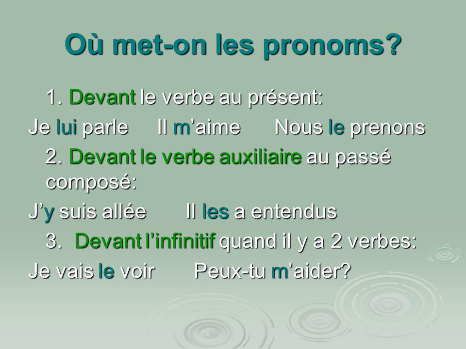 Où met-on les pronoms.1. Devant le verbe au présent: 1.