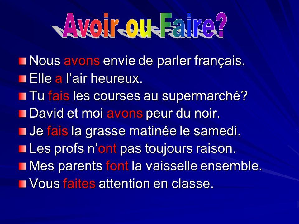 Nous avons envie de parler français. Elle a lair heureux. Tu fais les courses au supermarché? David et moi avons peur du noir. Je fais la grasse matin