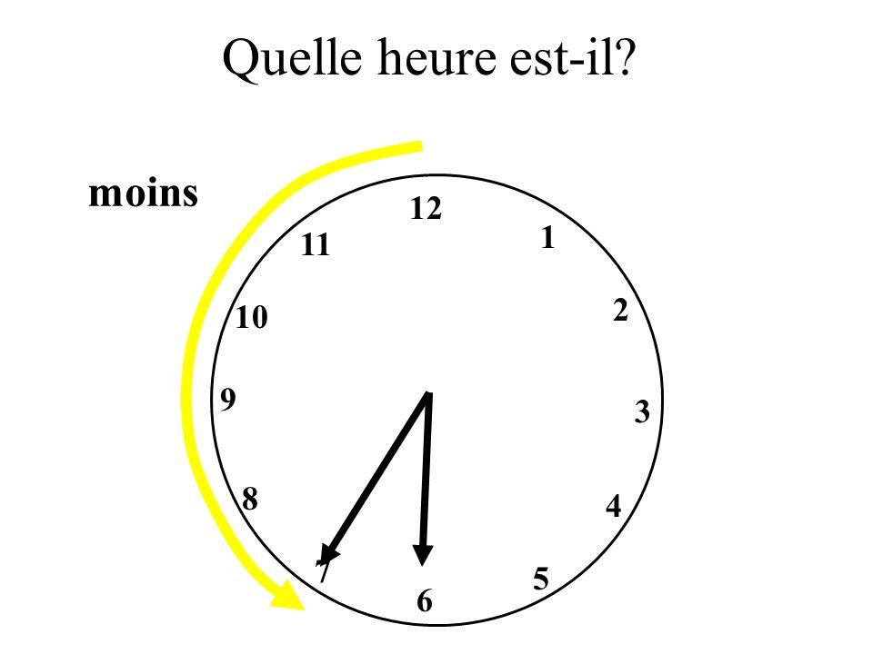 Quelle heure est-il? 9 12 3 6 1 2 4 5 7 8 10 11 moins