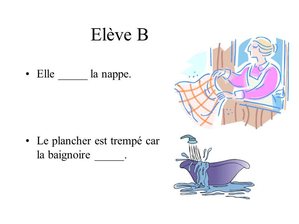 Elève B Elle _____ la nappe. Le plancher est trempé car la baignoire _____.