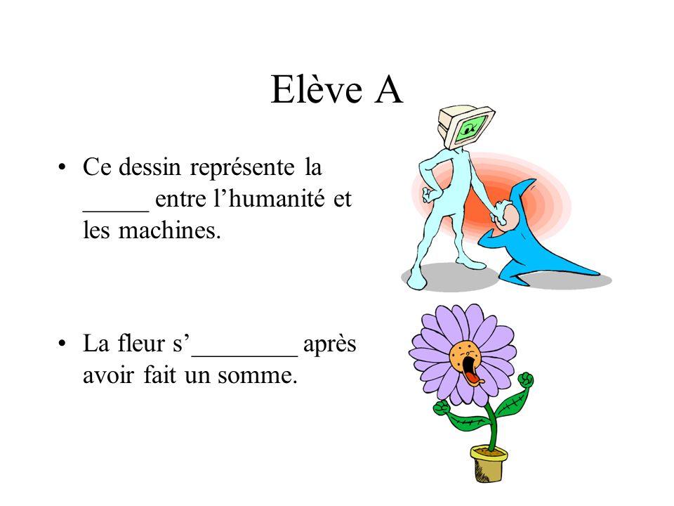 Elève A Ce dessin représente la _____ entre lhumanité et les machines.