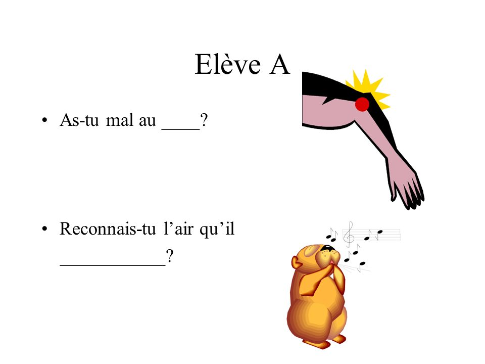 Elève A As-tu mal au ____ Reconnais-tu lair quil ___________