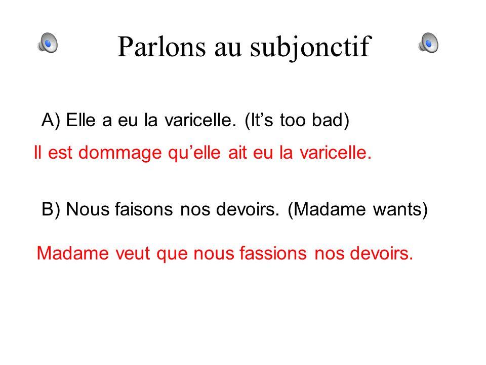 Parlons au subjonctif A) Madame est méchante (Its not true) Il nest pas vrai que Madame soit méchante. B) Il y a beaucoup de filles sportives à MC. (D