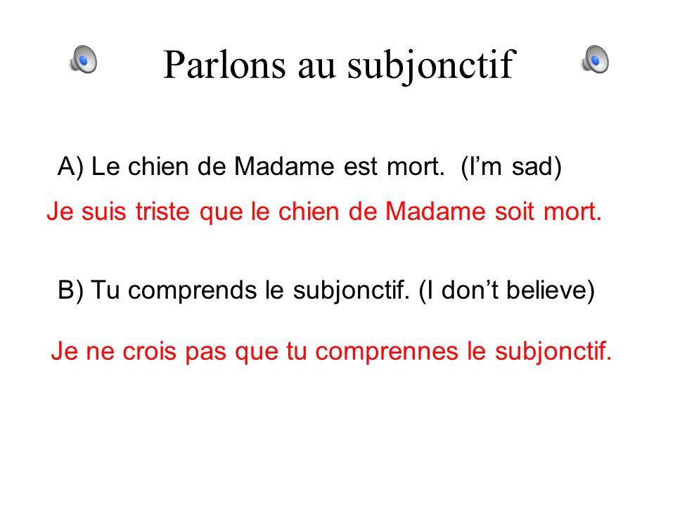 Parlons au subjonctif A) Nous étudions le subjonctif. (It is good) Il est bon que nous étudiions le subjonctif. B) Tu vas en France lété prochain. (Im