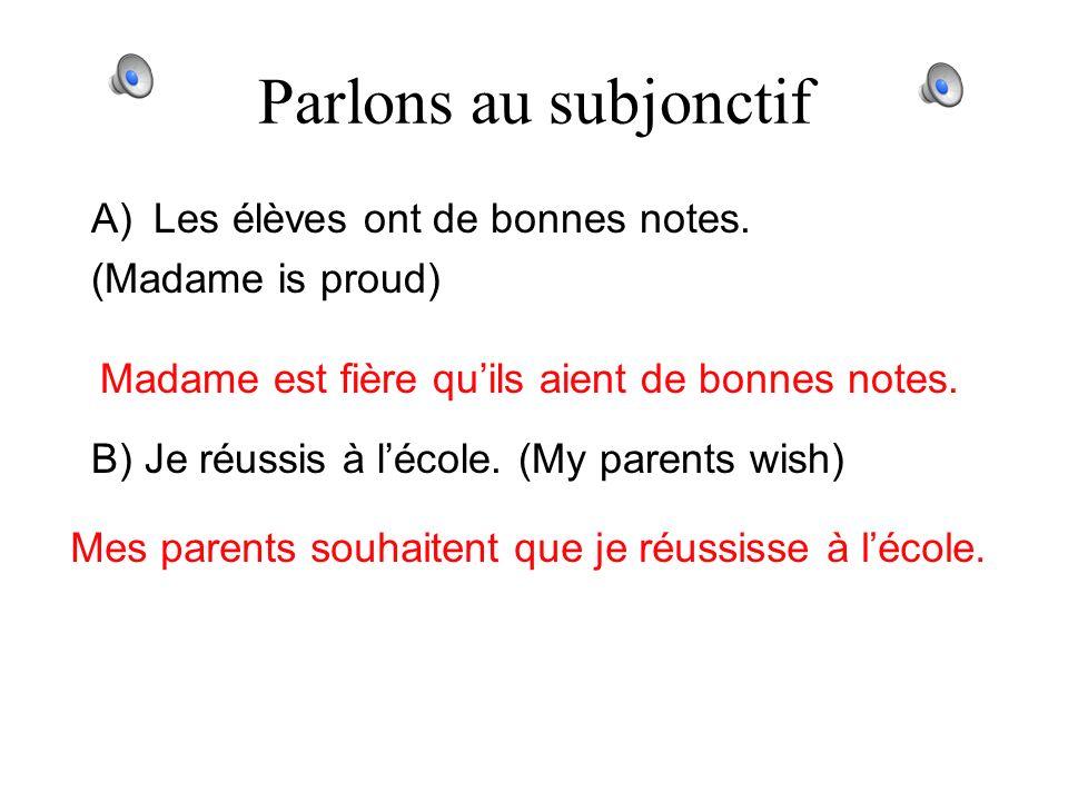 Parlons au subjonctif A) Tu as raté linterro. (He is sorry) Il regrette que tu aies raté linterro. B) Elle va abandonner le français. (Im astonished)