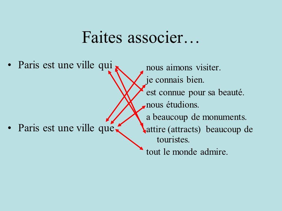 Faites associer… Paris est une ville qui Paris est une ville que nous aimons visiter.