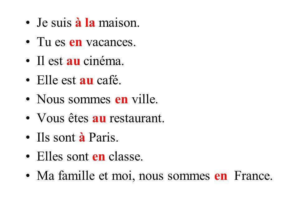 Je suis _________ maison. Tu es ________ vacances. Il est _________ cinéma. Elle est _______café. Nous sommes _______ ville. Vous êtes _______restaura