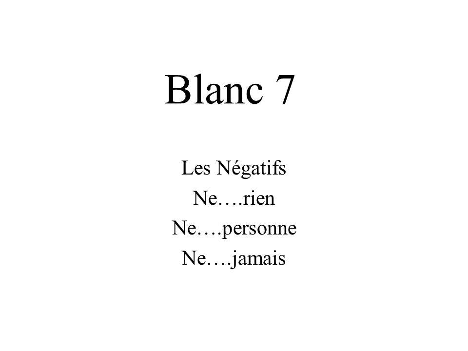 Blanc 7 Les Négatifs Ne….rien Ne….personne Ne….jamais