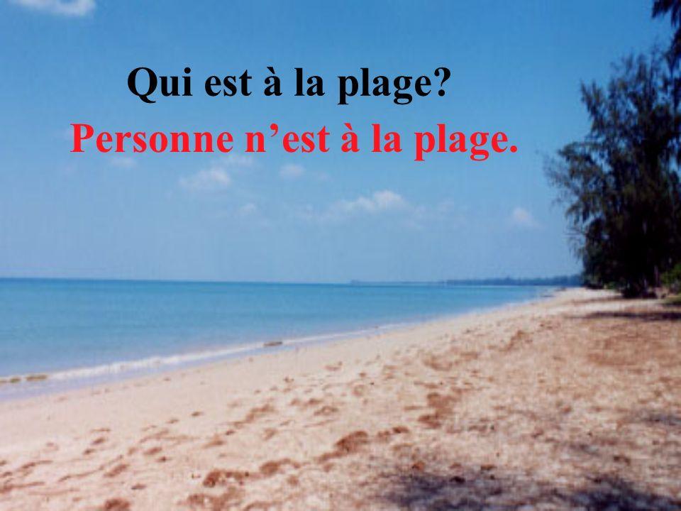 Qui est à la plage? Personne nest à la plage.