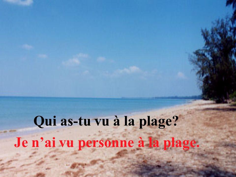 Qui as-tu vu à la plage? Je nai vu personne à la plage.