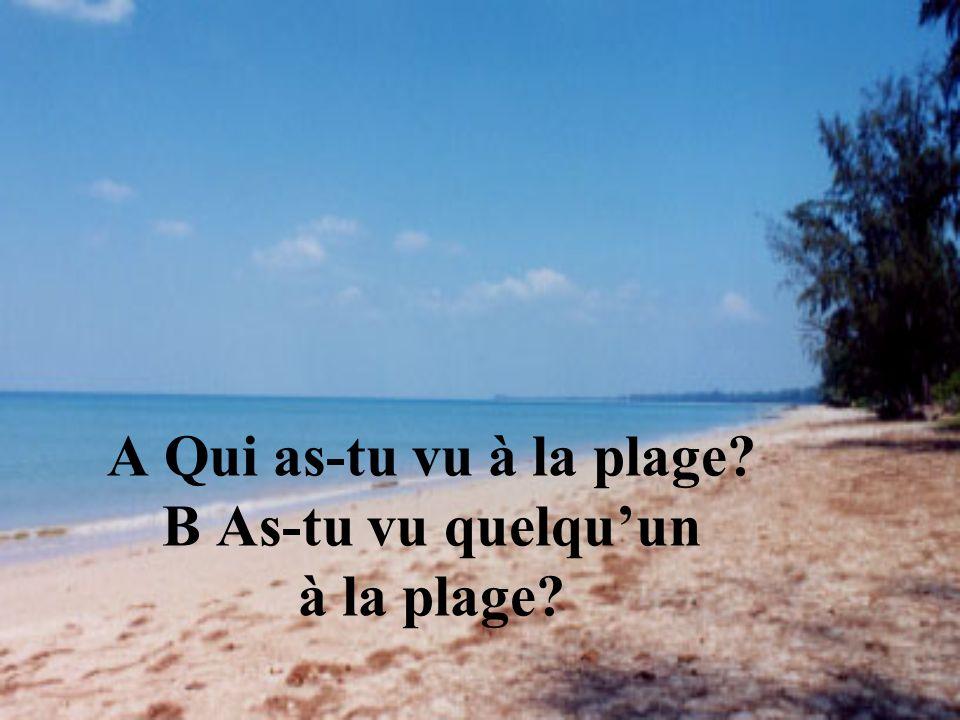 A Qui as-tu vu à la plage? B As-tu vu quelquun à la plage?