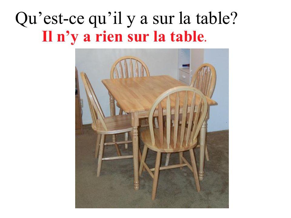 Quest-ce que tu vois sur la table? Je ne vois rien sur la table.