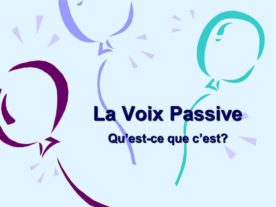 La Voix Active Le sujet fait laction du verbe.