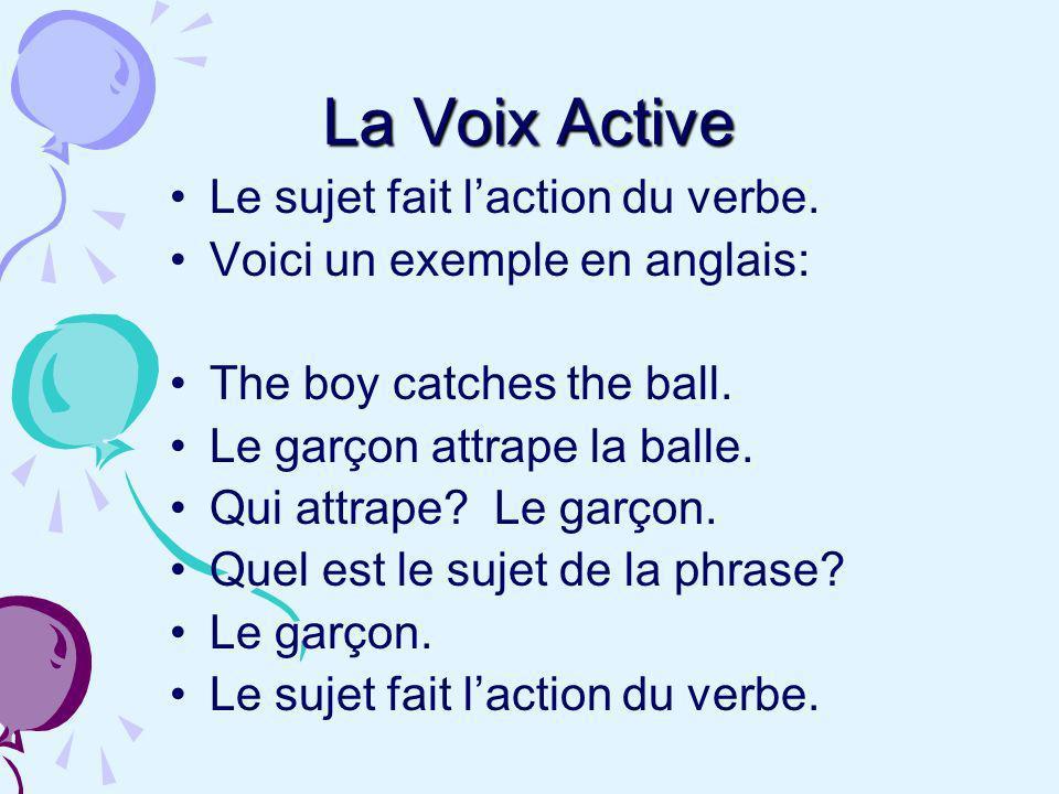 Lorsque le sujet reçoit laction du verbe et ne la fait pas, on a une phrase à la voix passive.