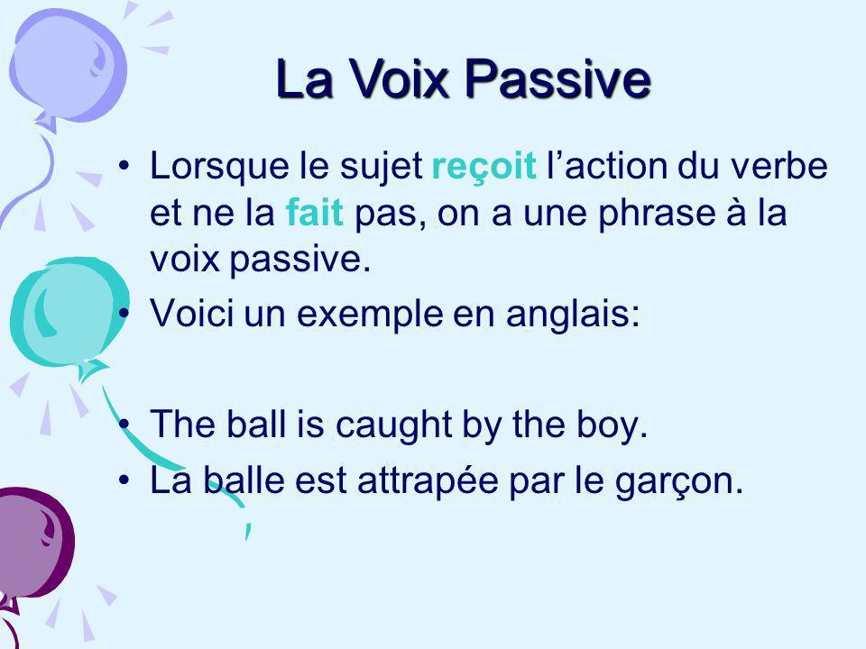 Lorsque le sujet reçoit laction du verbe et ne la fait pas, on a une phrase à la voix passive. Voici un exemple en anglais: The ball is caught by the