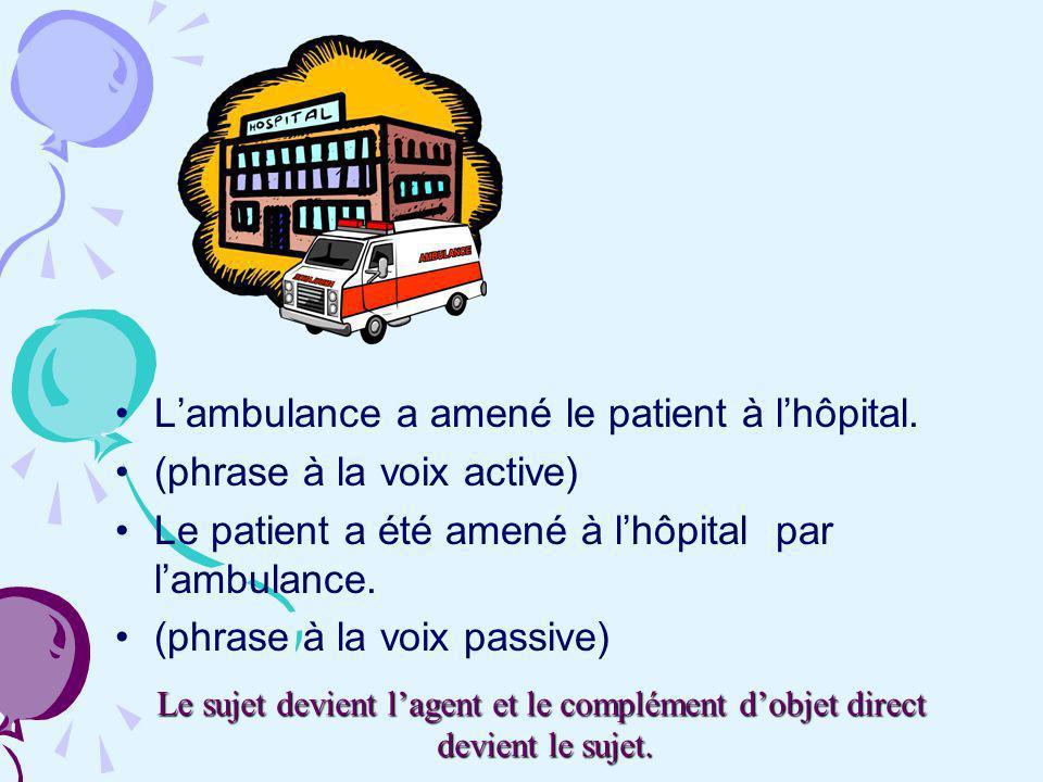 Lambulance a amené le patient à lhôpital. (phrase à la voix active) Le patient a été amené à lhôpital par lambulance. (phrase à la voix passive) Le su