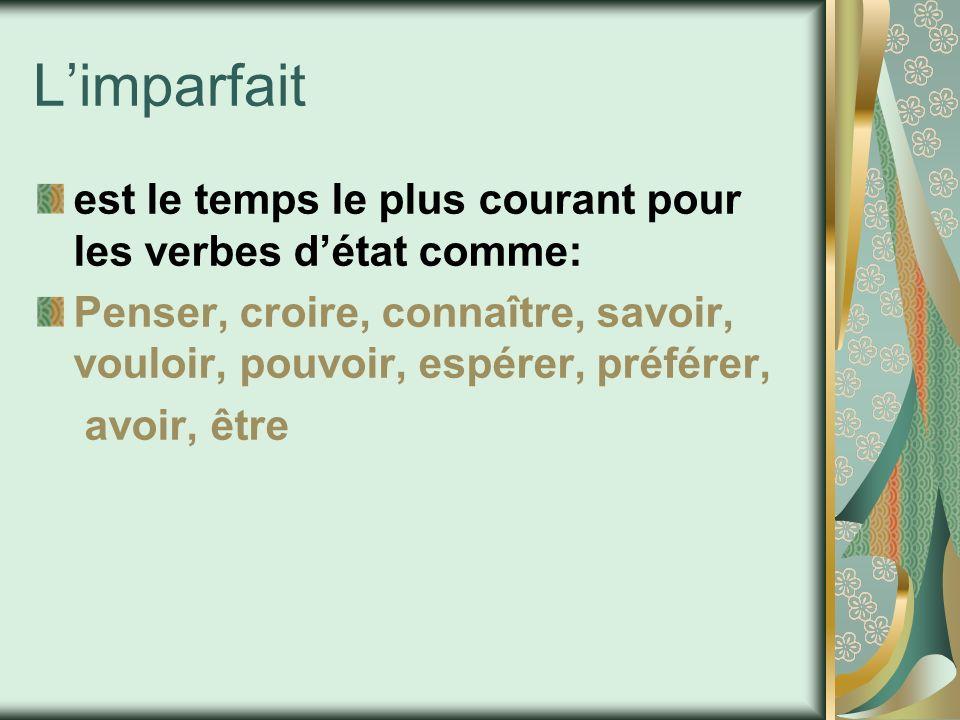 Limparfait est le temps le plus courant pour les verbes détat comme: Penser, croire, connaître, savoir, vouloir, pouvoir, espérer, préférer, avoir, êt