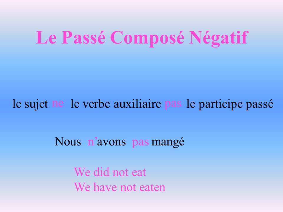 Le Passé Composé Négatif le sujet le verbe auxiliaire le participe passé ne pas Nous avons mangén pas We did not eat We have not eaten