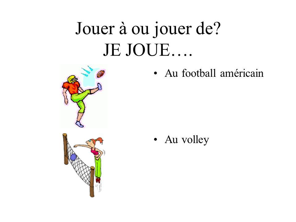 Jouer à ou jouer de? JE JOUE…. Au football américain Au volley