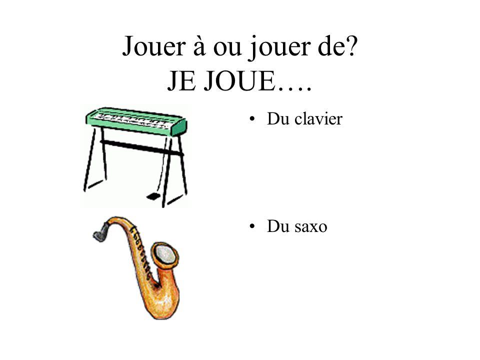 Jouer à ou jouer de? JE JOUE…. Du clavier Du saxo