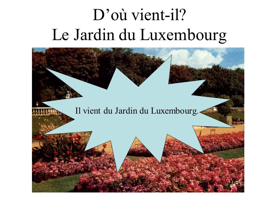 Doù vient-il? Le Jardin du Luxembourg Il vient du Jardin du Luxembourg.