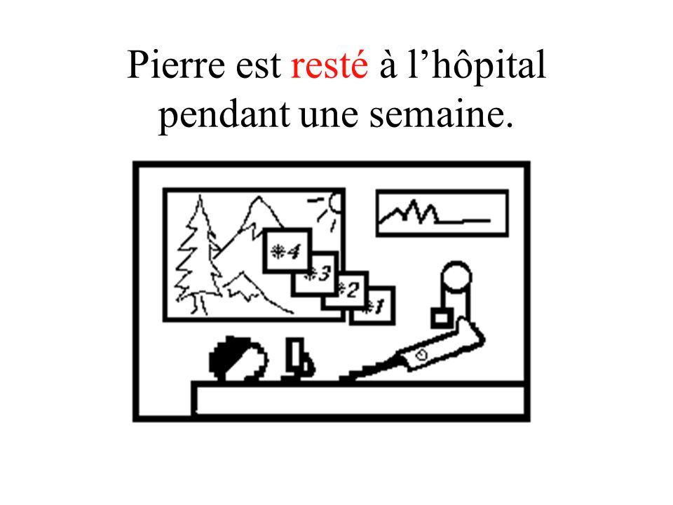 Pierre est resté à lhôpital pendant une semaine.