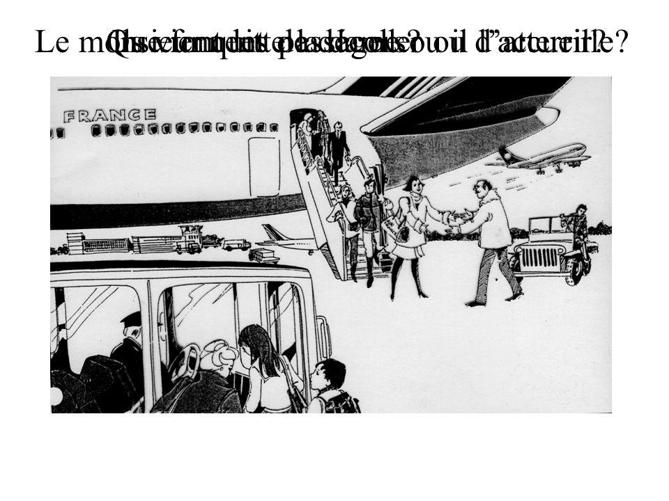 Ils viennent de décoller ou datterrir?Que font les passagers? Le monsieur quitte la dame ou il laccueille?