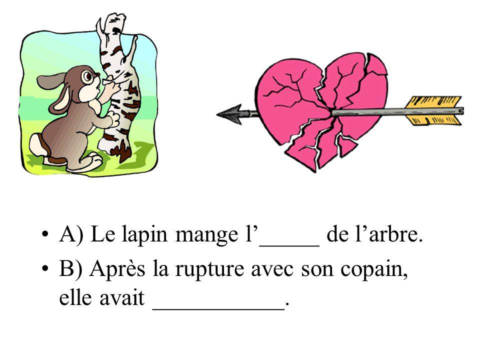 A) Le lapin mange l_____ de larbre. B) Après la rupture avec son copain, elle avait ___________.