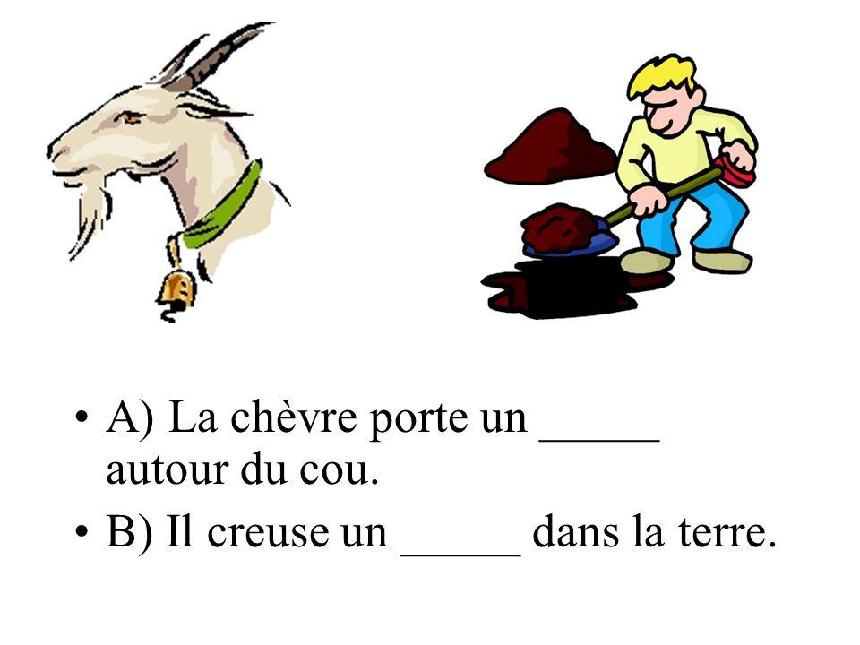 A) La chèvre porte un _____ autour du cou. B) Il creuse un _____ dans la terre.