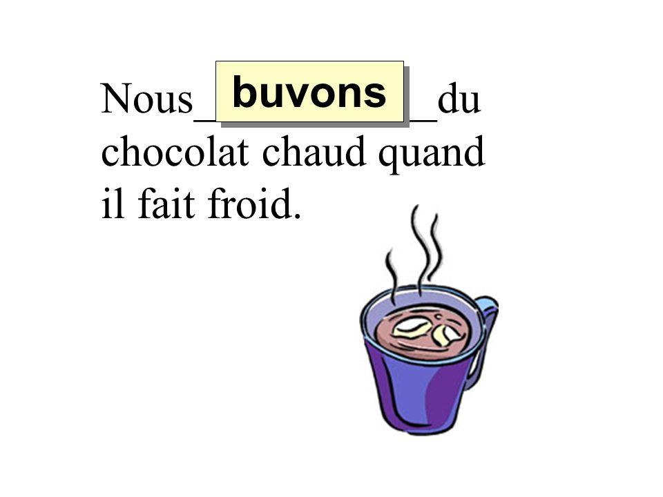 Nous___________du chocolat chaud quand il fait froid. buvons
