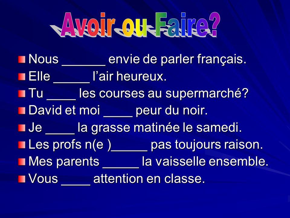 Nous ______ envie de parler français. Elle _____ lair heureux. Tu ____ les courses au supermarché? David et moi ____ peur du noir. Je ____ la grasse m