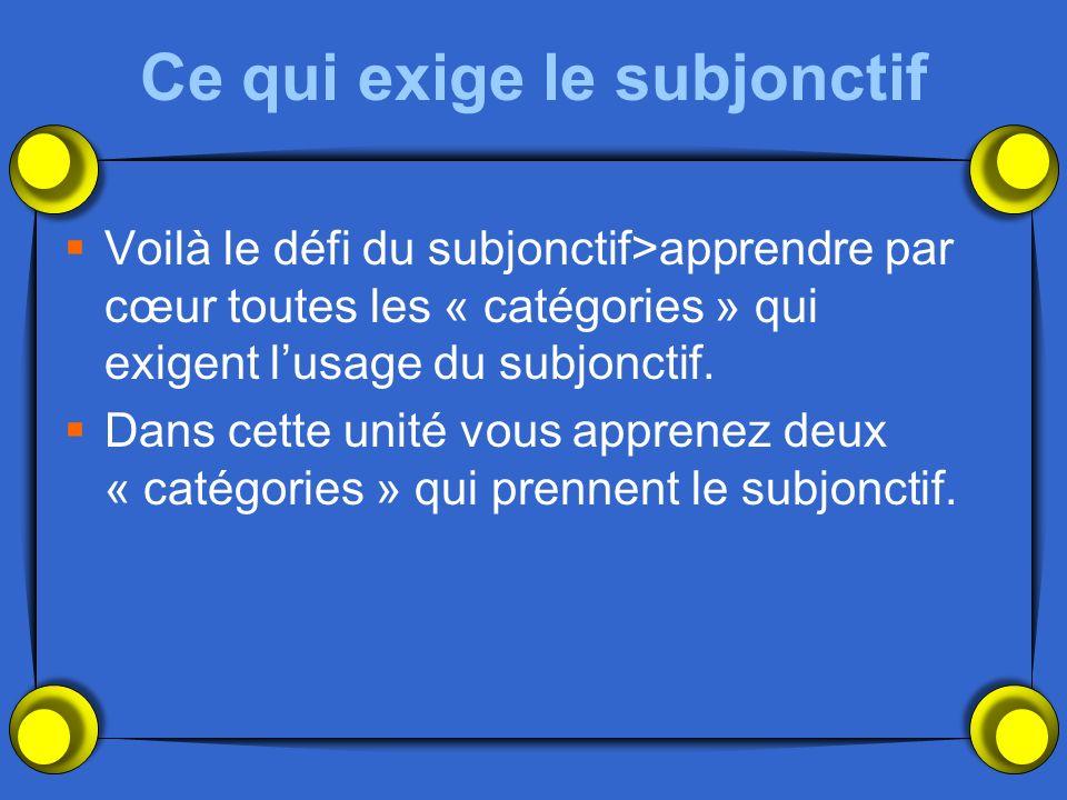 Ce qui exige le subjonctif Voilà le défi du subjonctif>apprendre par cœur toutes les « catégories » qui exigent lusage du subjonctif.