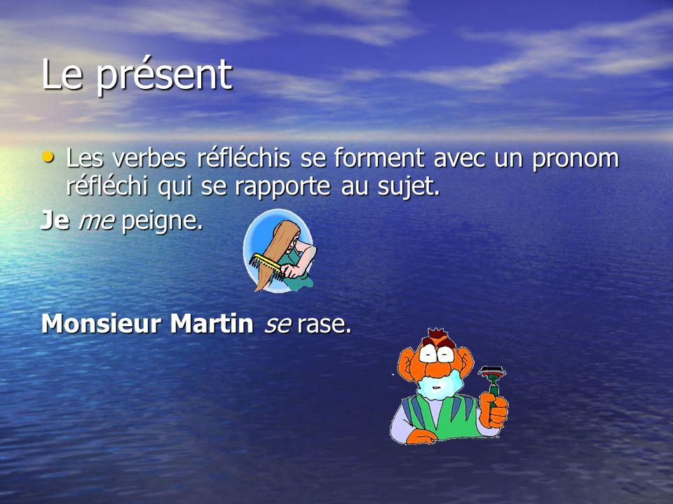 Le présent Les verbes réfléchis se forment avec un pronom réfléchi qui se rapporte au sujet. Les verbes réfléchis se forment avec un pronom réfléchi q