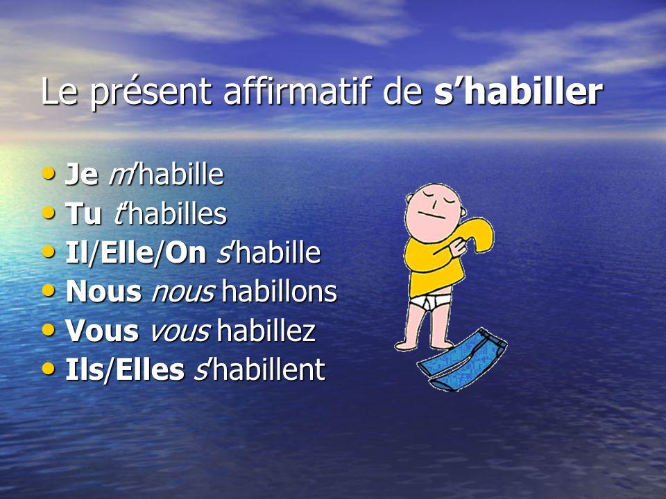 Le présent affirmatif de shabiller Je mhabille Je mhabille Tu thabilles Tu thabilles Il/Elle/On shabille Il/Elle/On shabille Nous nous habillons Nous