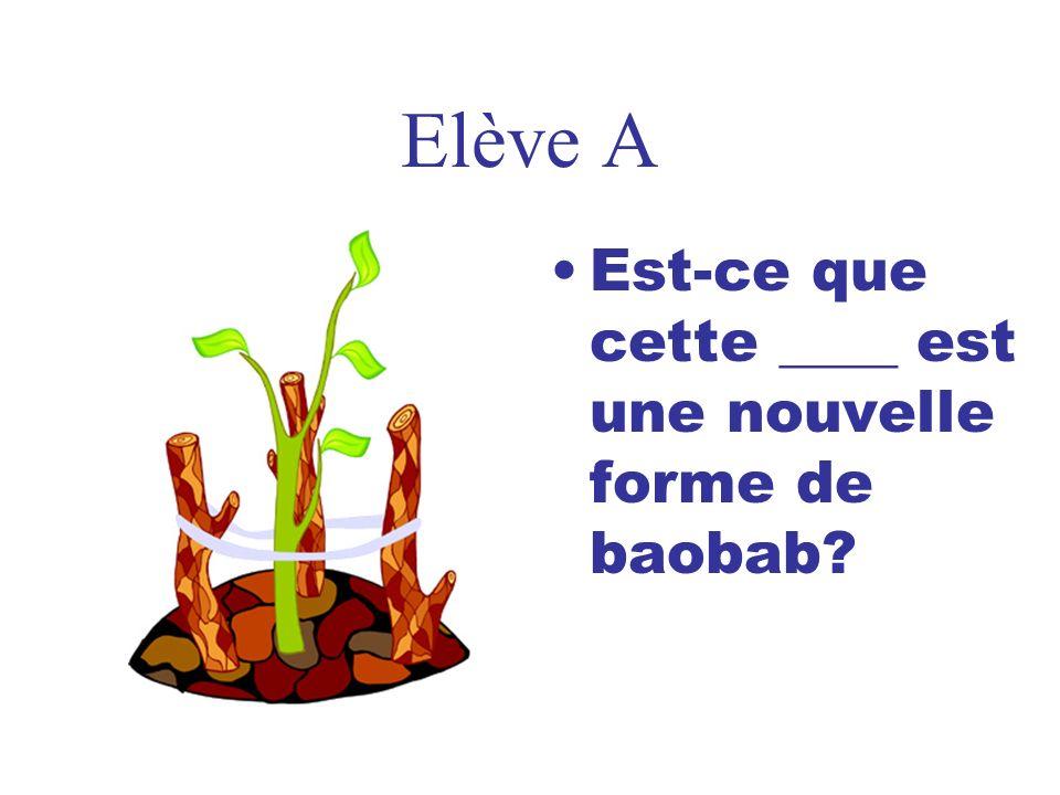 Elève A Est-ce que cette ____ est une nouvelle forme de baobab?