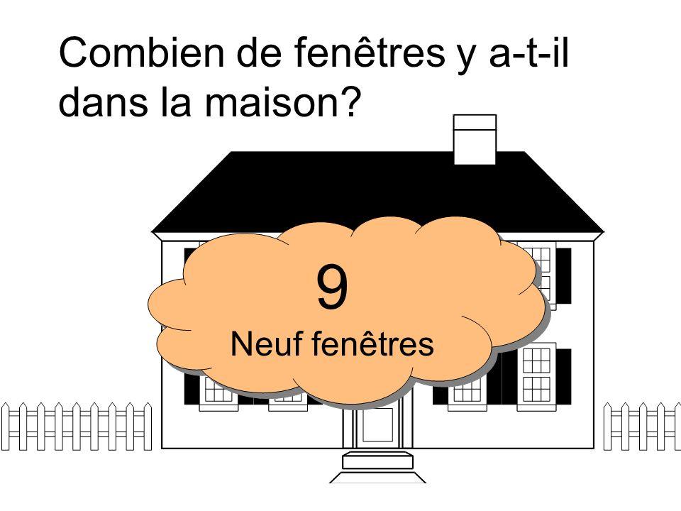 Combien de fenêtres y a-t-il dans la maison? 3 Trois fenêtres 3 Trois fenêtres