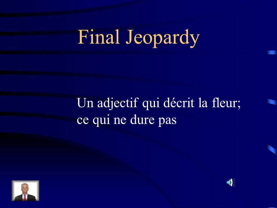 Final Jeopardy Un adjectif qui décrit la fleur; ce qui ne dure pas