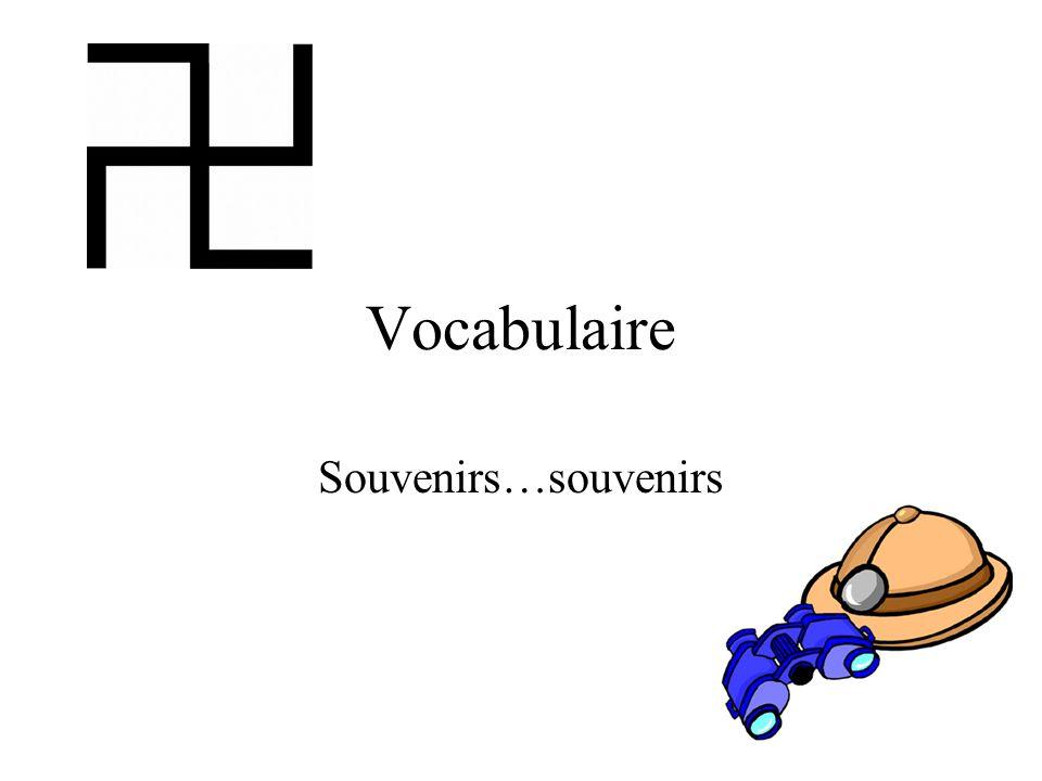 Vocabulaire Souvenirs…souvenirs