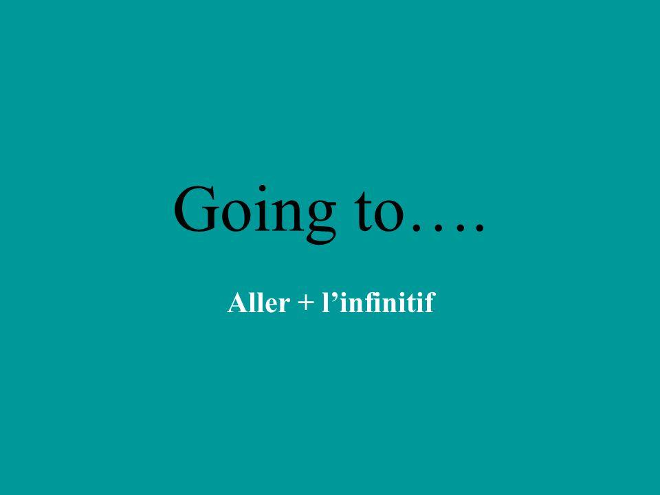 Going to…. Aller + linfinitif