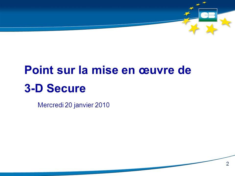 2 Point sur la mise en œuvre de 3-D Secure Mercredi 20 janvier 2010