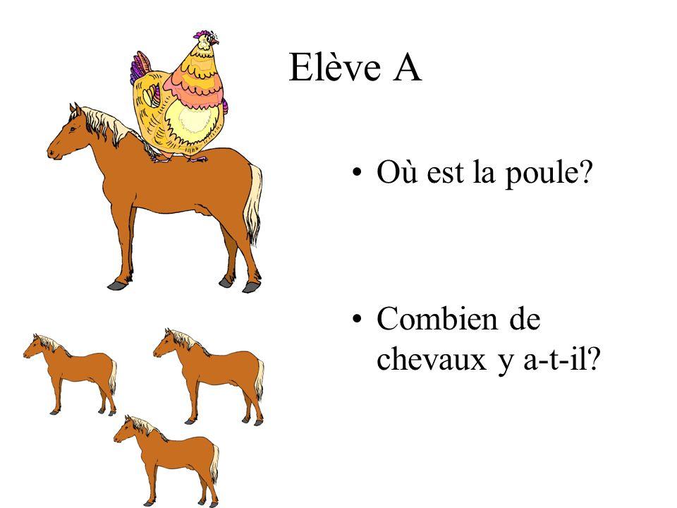 Elève A Où est la poule? Combien de chevaux y a-t-il?