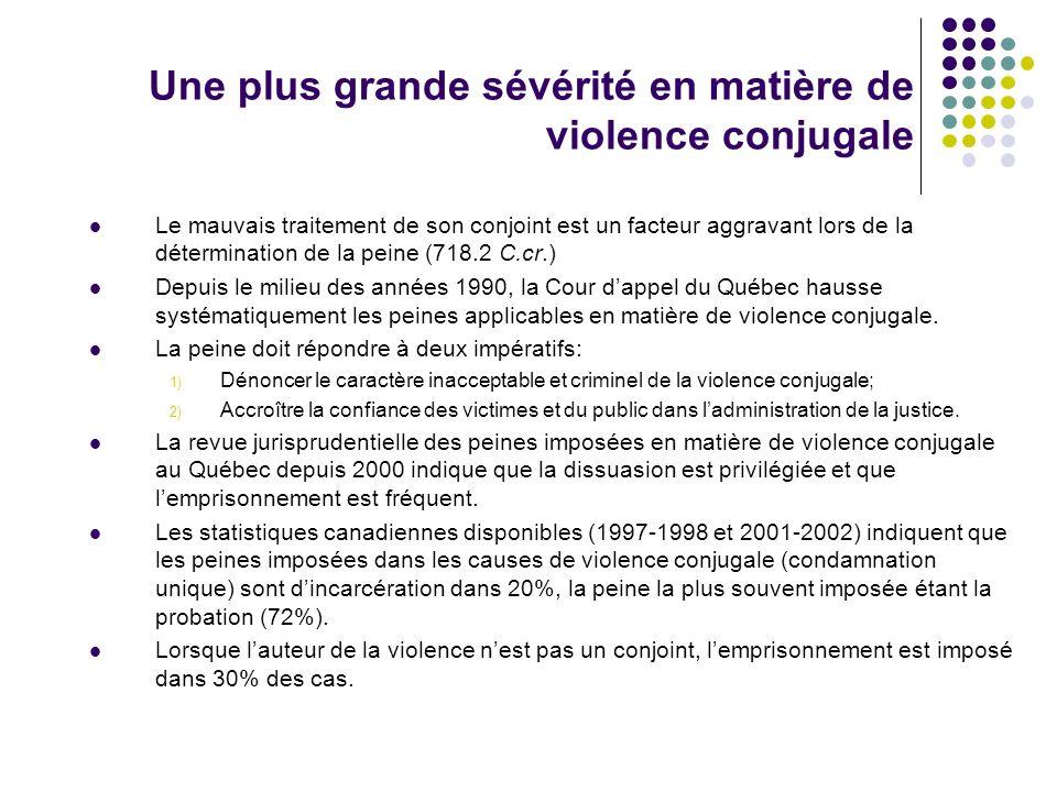 Une plus grande sévérité en matière de violence conjugale Le mauvais traitement de son conjoint est un facteur aggravant lors de la détermination de l