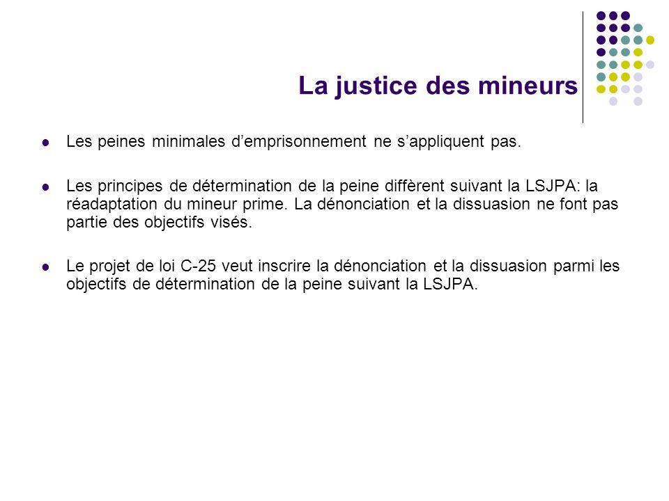 La justice des mineurs Les peines minimales demprisonnement ne sappliquent pas. Les principes de détermination de la peine diffèrent suivant la LSJPA: